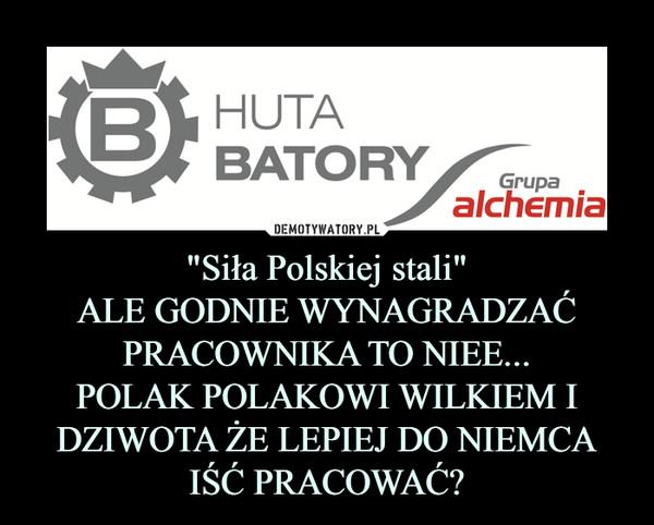 """""""Siła Polskiej stali""""ALE GODNIE WYNAGRADZAĆ PRACOWNIKA TO NIEE...POLAK POLAKOWI WILKIEM I DZIWOTA ŻE LEPIEJ DO NIEMCA IŚĆ PRACOWAĆ? –"""