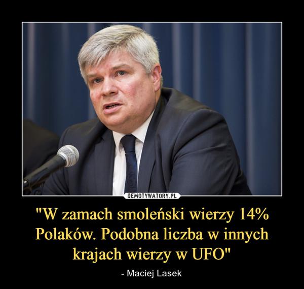 """""""W zamach smoleński wierzy 14% Polaków. Podobna liczba w innych krajach wierzy w UFO"""" – - Maciej Lasek"""