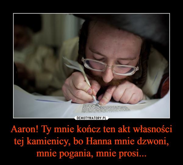 Aaron! Ty mnie kończ ten akt własności tej kamienicy, bo Hanna mnie dzwoni, mnie pogania, mnie prosi... –