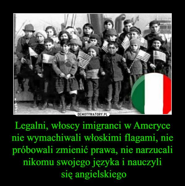 Legalni, włoscy imigranci w Ameryce nie wymachiwali włoskimi flagami, nie próbowali zmienić prawa, nie narzucali nikomu swojego języka i nauczyli się angielskiego –
