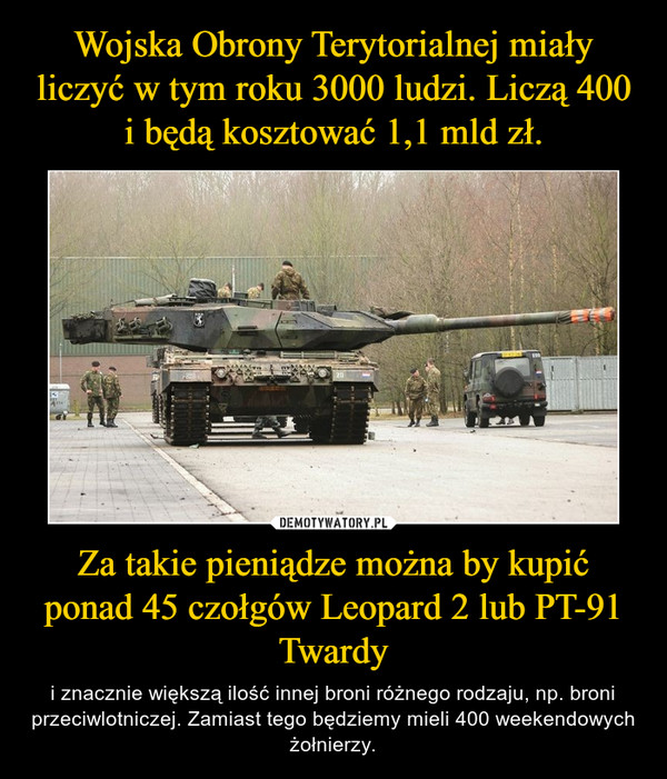 Za takie pieniądze można by kupić ponad 45 czołgów Leopard 2 lub PT-91 Twardy – i znacznie większą ilość innej broni różnego rodzaju, np. broni przeciwlotniczej. Zamiast tego będziemy mieli 400 weekendowych żołnierzy.