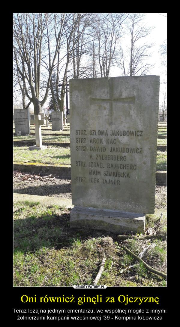 Oni również ginęli za Ojczyznę – Teraz leżą na jednym cmentarzu, we wspólnej mogile z innymi żołnierzami kampanii wrześniowej '39 - Kompina k/Łowicza