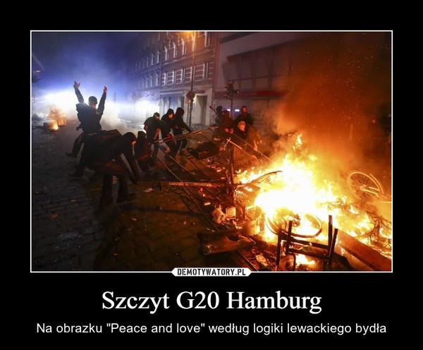 """Szczyt G20 Hamburg – Na obrazku """"Peace and love"""" według logiki lewackiego bydła"""