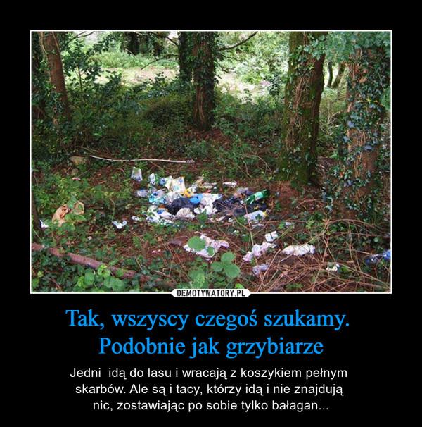 Tak, wszyscy czegoś szukamy. Podobnie jak grzybiarze – Jedni  idą do lasu i wracają z koszykiem pełnym skarbów. Ale są i tacy, którzy idą i nie znajdują nic, zostawiając po sobie tylko bałagan...