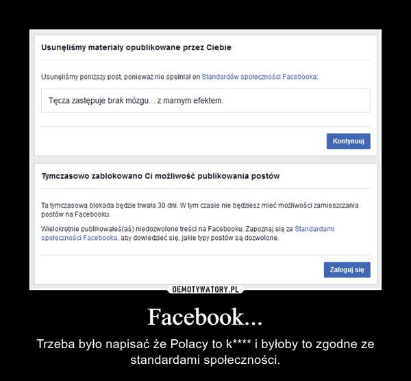 Facebook... – Trzeba było napisać że Polacy to k**** i byłoby to zgodne ze standardami społeczności.