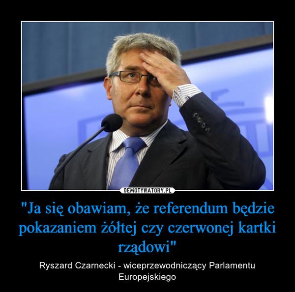 """""""Ja się obawiam, że referendum będzie pokazaniem żółtej czy czerwonej kartki rządowi"""" – Ryszard Czarnecki - wiceprzewodniczący Parlamentu Europejskiego"""