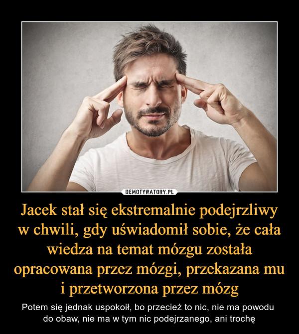 Jacek stał się ekstremalnie podejrzliwy w chwili, gdy uświadomił sobie, że cała wiedza na temat mózgu została opracowana przez mózgi, przekazana mu i przetworzona przez mózg – Potem się jednak uspokoił, bo przecież to nic, nie ma powodu do obaw, nie ma w tym nic podejrzanego, ani trochę