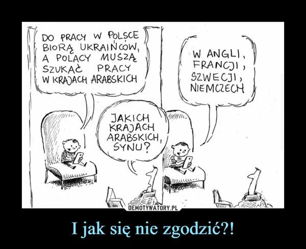 I jak się nie zgodzić?! –  Do pracy w Polsce biorą Ukraińców, a Polacy muszą szukać pracy w krajach arabskich. Jakich krajach arabskich synku? W Anglii, Francji, Szwecji, Niemczech