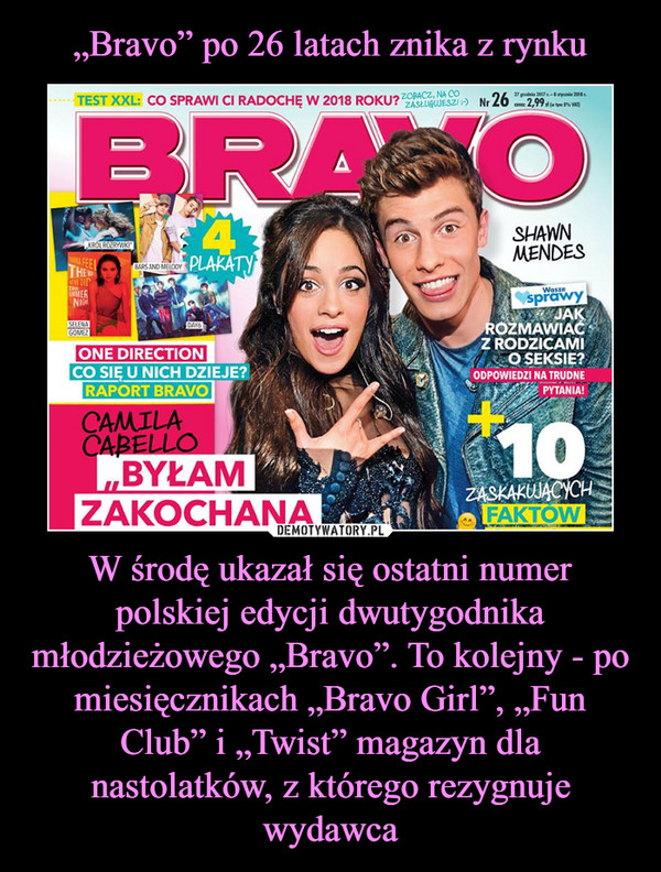 """W środę ukazał się ostatni numer polskiej edycji dwutygodnika młodzieżowego """"Bravo"""". To kolejny - po miesięcznikach """"Bravo Girl"""", """"Fun Club"""" i """"Twist"""" magazyn dla nastolatków, z którego rezygnuje wydawca –"""