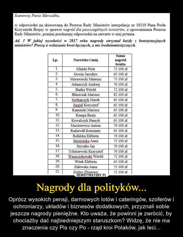 Nagrody dla polityków... – Oprócz wysokich pensji, darmowych lotów i cateringów, szoferów i ochroniarzy, układów i biznesów dodatkowych, przyznali sobie jeszcze nagrody pieniężne. Kto uważa, że powinni je zwrócić, by chociażby dać najbiedniejszym staruszkom? Widzę, że nie ma znaczenia czy Pis czy Po - rząd kroi Polaków, jak leci...