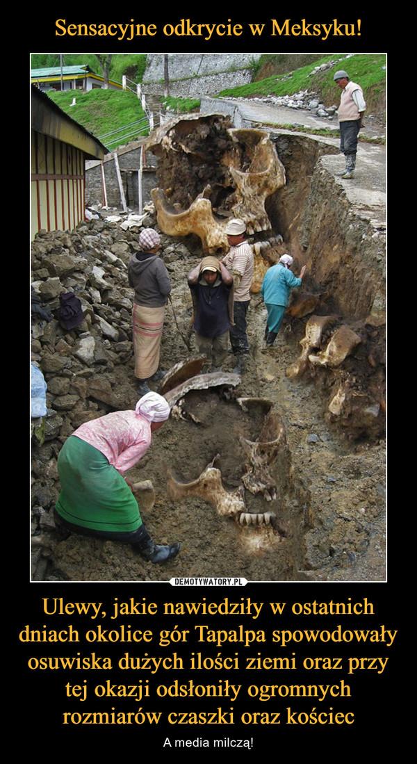 Ulewy, jakie nawiedziły w ostatnich dniach okolice gór Tapalpa spowodowały osuwiska dużych ilości ziemi oraz przy tej okazji odsłoniły ogromnych rozmiarów czaszki oraz kościec – A media milczą!