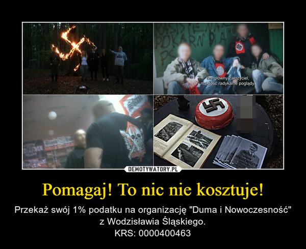 """Pomagaj! To nic nie kosztuje! – Przekaż swój 1% podatku na organizację """"Duma i Nowoczesność"""" z Wodzisławia Śląskiego.KRS: 0000400463"""