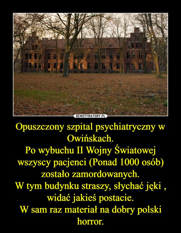 Opuszczony szpital psychiatryczny w Owińskach.Po wybuchu II Wojny Światowej wszyscy pacjenci (Ponad 1000 osób) zostało zamordowanych.W tym budynku straszy, słychać jęki , widać jakieś postacie.W sam raz materiał na dobry polski horror. –