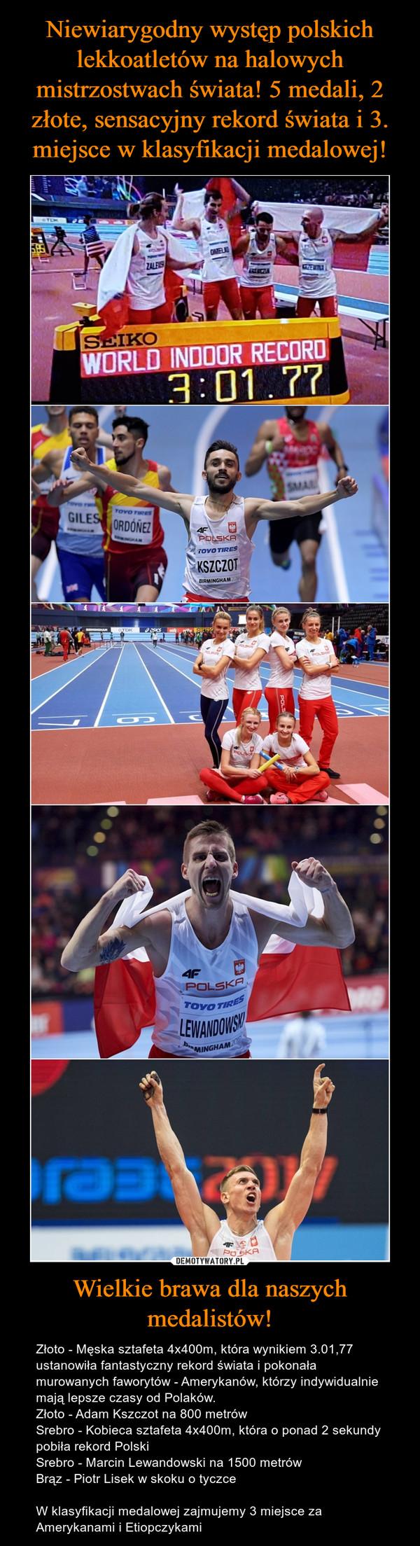 Wielkie brawa dla naszych medalistów! – Złoto - Męska sztafeta 4x400m, która wynikiem 3.01,77 ustanowiła fantastyczny rekord świata i pokonała murowanych faworytów - Amerykanów, którzy indywidualnie mają lepsze czasy od Polaków.Złoto - Adam Kszczot na 800 metrówSrebro - Kobieca sztafeta 4x400m, która o ponad 2 sekundy pobiła rekord PolskiSrebro - Marcin Lewandowski na 1500 metrówBrąz - Piotr Lisek w skoku o tyczceW klasyfikacji medalowej zajmujemy 3 miejsce za Amerykanami i Etiopczykami