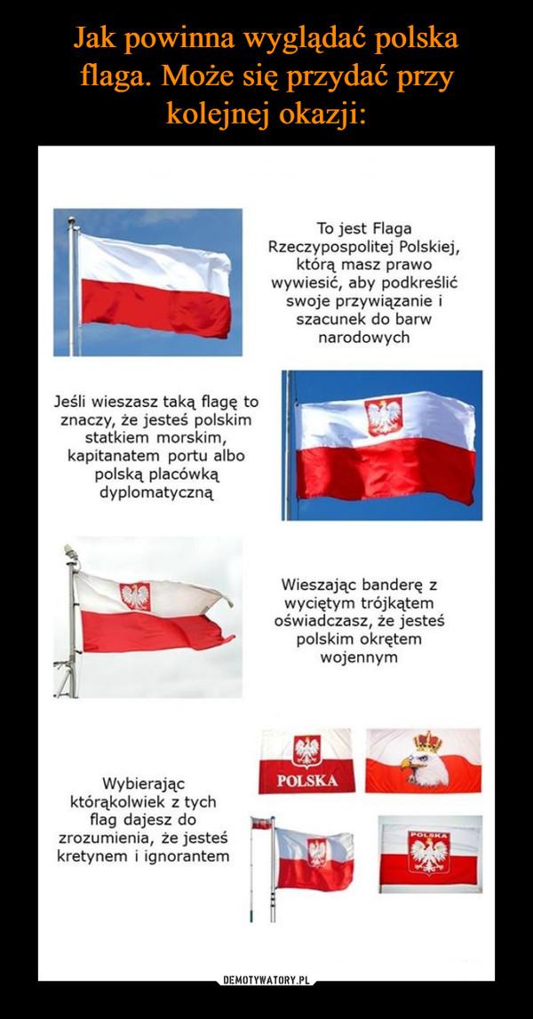 –  Jeśli wieszasz taką flagę to znaczy, że jesteś polskim statkiem morskim, kapitanatem portu albo polską placówką dyplomatyczną Wybierając którąkolwiek z tych flag dajesz do zrozumienia, że jesteś kretynem i ignorantem To jest Flaga Rzeczypospolitej Polskiej, którą masz prawo wywiesić, aby podkreślić swoje przywiązanie i szacunek do barw narodowych