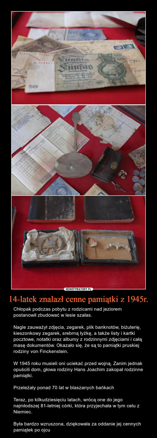14-latek znalazł cenne pamiątki z 1945r.