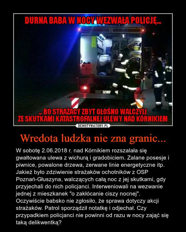 """Wredota ludzka nie zna granic... – W sobotę 2.06.2018 r. nad Kórnikiem rozszalała się gwałtowana ulewa z wichurą i gradobiciem. Zalane posesje i piwnice, powalone drzewa, zerwane linie energetyczne itp. Jakież było zdziwienie strażaków ochotników z OSP Poznań-Głuszyna, walczących całą noc z jej skutkami, gdy przyjechali do nich policjanci. Interweniowali na wezwanie jednej z mieszkanek """"o zakłócanie ciszy nocnej"""". Oczywiście babsko nie zgłosiło, że sprawa dotyczy akcji strażaków. Patrol sporządził notatkę i odjechał. Czy przypadkiem policjanci nie powinni od razu w nocy zająć się taką delikwentką?"""