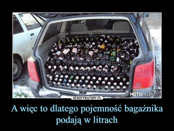 A więc to dlatego pojemność bagażnika podają w litrach –
