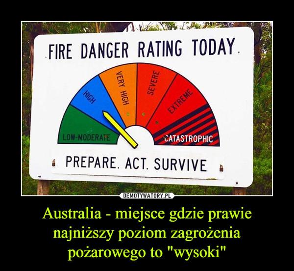 """Australia - miejsce gdzie prawie najniższy poziom zagrożenia pożarowego to """"wysoki"""" –  FIRE DANGER RATING TODAY. LOW-MODERATE PREPARE. ACT. SURVIVE"""