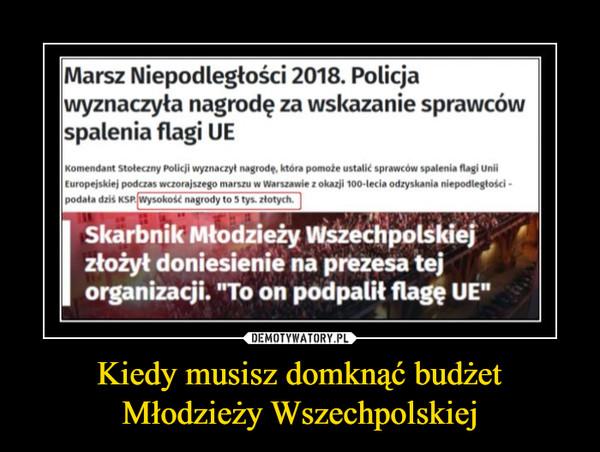 Kiedy musisz domknąć budżet Młodzieży Wszechpolskiej –