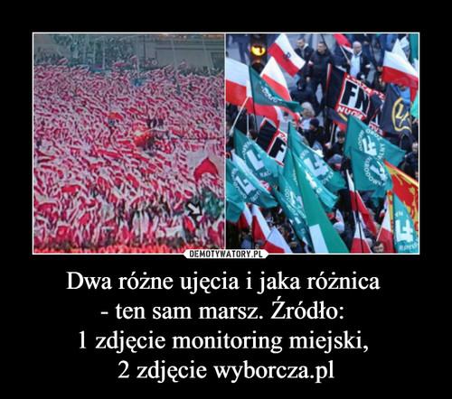 Dwa różne ujęcia i jaka różnica  - ten sam marsz. Źródło:  1 zdjęcie monitoring miejski,  2 zdjęcie wyborcza.pl
