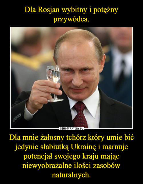 Dla Rosjan wybitny i potężny przywódca. Dla mnie żałosny tchórz który umie bić jedynie słabiutką Ukrainę i marnuje potencjał swojego kraju mając niewyobrażalne ilości zasobów naturalnych.
