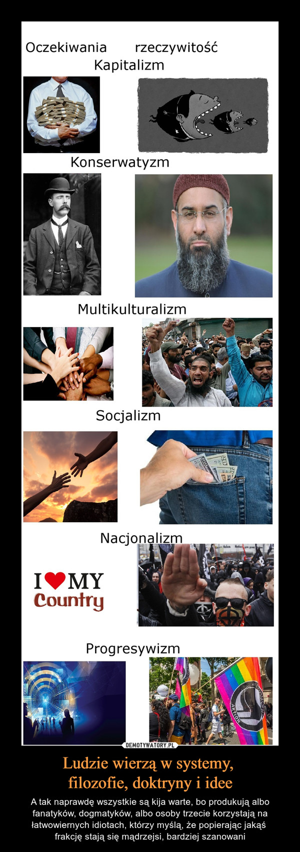 Ludzie wierzą w systemy, filozofie, doktryny i idee – A tak naprawdę wszystkie są kija warte, bo produkują albo fanatyków, dogmatyków, albo osoby trzecie korzystają na łatwowiernych idiotach, którzy myślą, że popierając jakąś frakcję stają się mądrzejsi, bardziej szanowani Oczekiwania rzeczywitość Kapitalizm Konserwatyzm Multikulturalizm Socjalizm Nacjonalizm Counłrg Progresywizm
