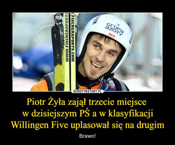 Piotr Żyła zajął trzecie miejsce w dzisiejszym PŚ a w klasyfikacjiWillingen Five uplasował się na drugim – Brawo!