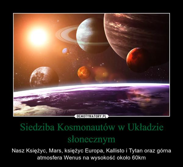 Siedziba Kosmonautów w Układzie słonecznym – Nasz Księżyc, Mars, księżyc Europa, Kallisto i Tytan oraz górna atmosfera Wenus na wysokość około 60km