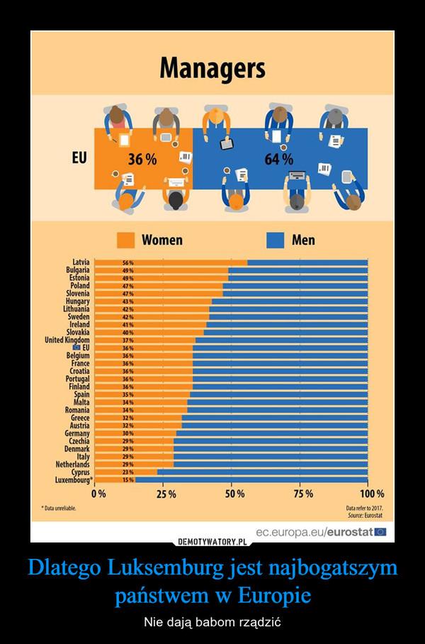 Dlatego Luksemburg jest najbogatszym państwem w Europie – Nie dają babom rządzić