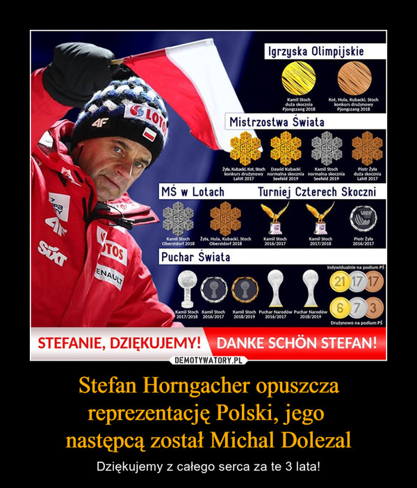 Stefan Horngacher opuszcza reprezentację Polski, jego następcą został Michal Dolezal – Dziękujemy z całego serca za te 3 lata!