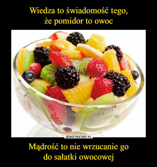 Mądrość to nie wrzucanie godo sałatki owocowej –