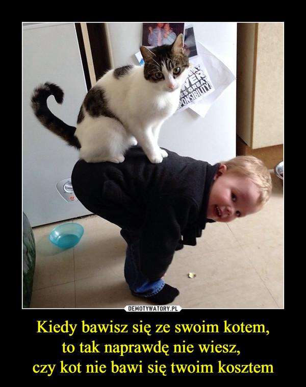 Kiedy bawisz się ze swoim kotem,to tak naprawdę nie wiesz, czy kot nie bawi się twoim kosztem –