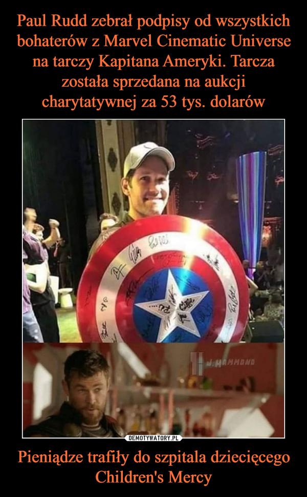 Pieniądze trafiły do szpitala dziecięcego Children's Mercy –