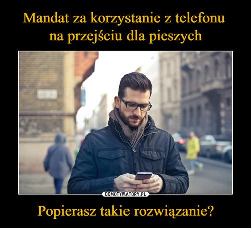 Mandat za korzystanie z telefonu  na przejściu dla pieszych Popierasz takie rozwiązanie?