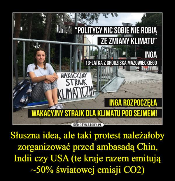 Słuszna idea, ale taki protest należałoby zorganizować przed ambasadą Chin, Indii czy USA (te kraje razem emitują ~50% światowej emisji CO2) –