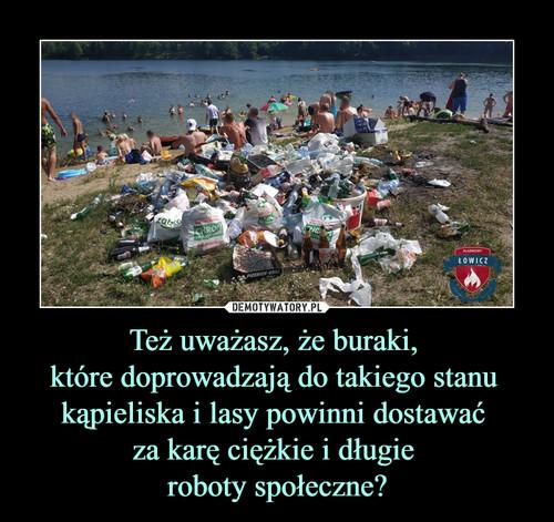 Też uważasz, że buraki,  które doprowadzają do takiego stanu  kąpieliska i lasy powinni dostawać  za karę ciężkie i długie  roboty społeczne?