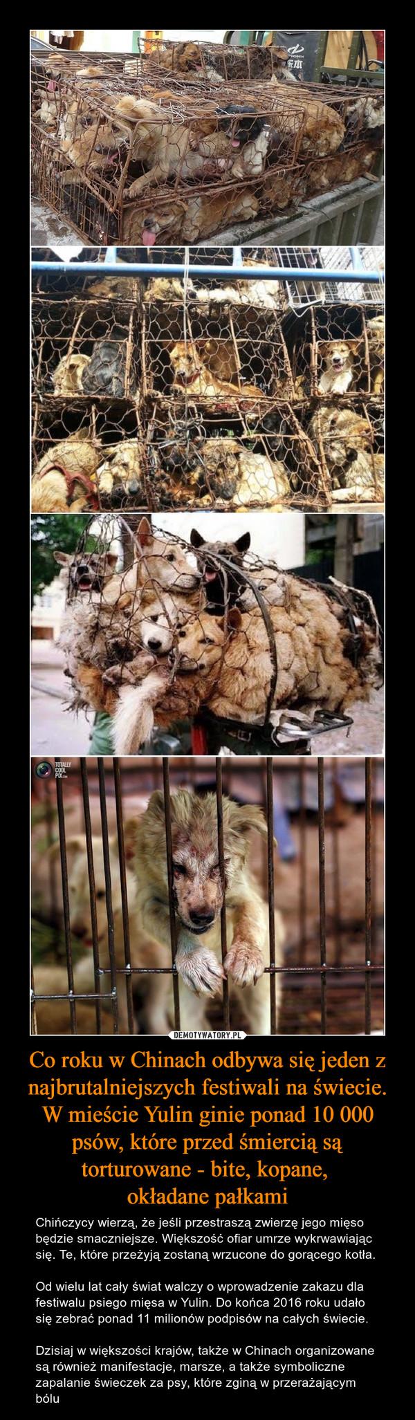 Co roku w Chinach odbywa się jeden z najbrutalniejszych festiwali na świecie. W mieście Yulin ginie ponad 10 000 psów, które przed śmiercią są torturowane - bite, kopane, okładane pałkami – Chińczycy wierzą, że jeśli przestraszą zwierzę jego mięso będzie smaczniejsze. Większość ofiar umrze wykrwawiając się. Te, które przeżyją zostaną wrzucone do gorącego kotła.Od wielu lat cały świat walczy o wprowadzenie zakazu dla festiwalu psiego mięsa w Yulin. Do końca 2016 roku udało się zebrać ponad 11 milionów podpisów na całych świecie. Dzisiaj w większości krajów, także w Chinach organizowane są również manifestacje, marsze, a także symboliczne zapalanie świeczek za psy, które zginą w przerażającym bólu