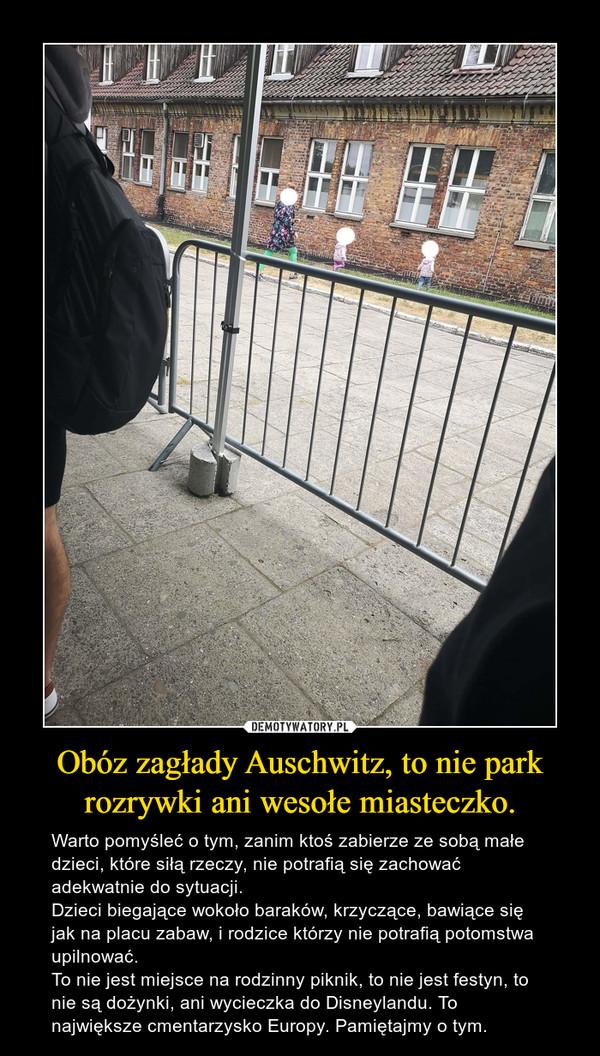 Obóz zagłady Auschwitz, to nie park rozrywki ani wesołe miasteczko. – Warto pomyśleć o tym, zanim ktoś zabierze ze sobą małe dzieci, które siłą rzeczy, nie potrafią się zachować adekwatnie do sytuacji.Dzieci biegające wokoło baraków, krzyczące, bawiące się jak na placu zabaw, i rodzice którzy nie potrafią potomstwa upilnować.To nie jest miejsce na rodzinny piknik, to nie jest festyn, to nie są dożynki, ani wycieczka do Disneylandu. To największe cmentarzysko Europy. Pamiętajmy o tym.