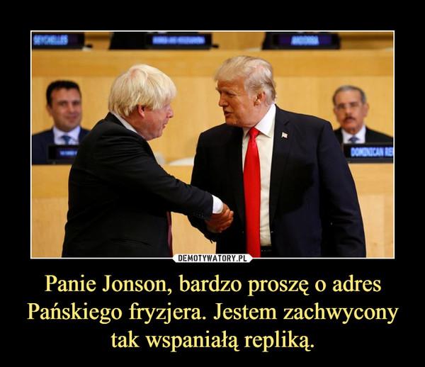 Panie Jonson, bardzo proszę o adres Pańskiego fryzjera. Jestem zachwycony tak wspaniałą repliką. –
