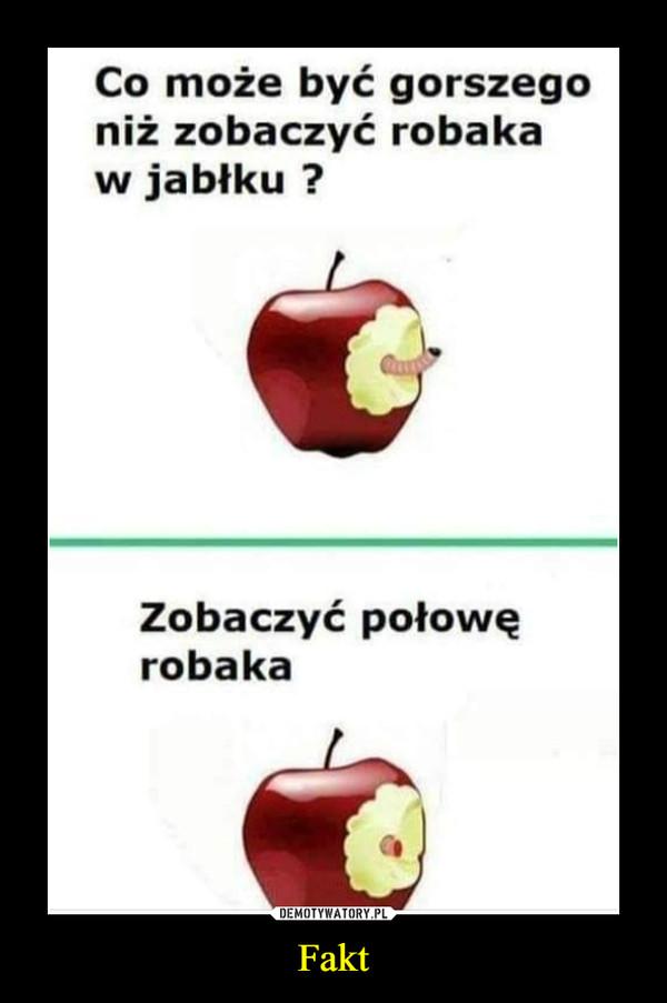 Fakt –  Co może być gorszegoniż zobaczyć robakaw jabłku ?Zobaczyć połowęrobaka