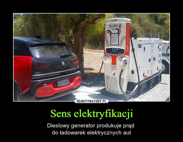 Sens elektryfikacji – Dieslowy generator produkuje prąd do ładowarek elektrycznych aut