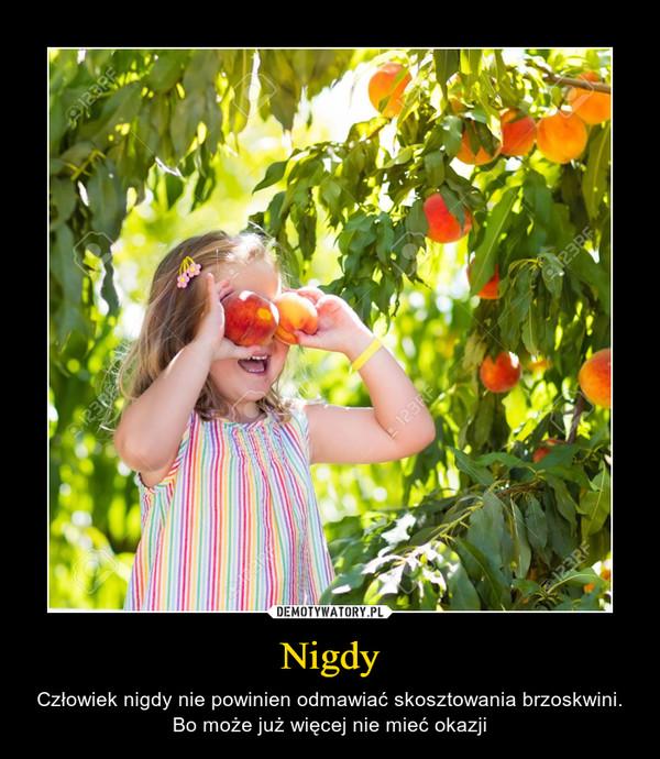 Nigdy – Człowiek nigdy nie powinien odmawiać skosztowania brzoskwini. Bo może już więcej nie mieć okazji