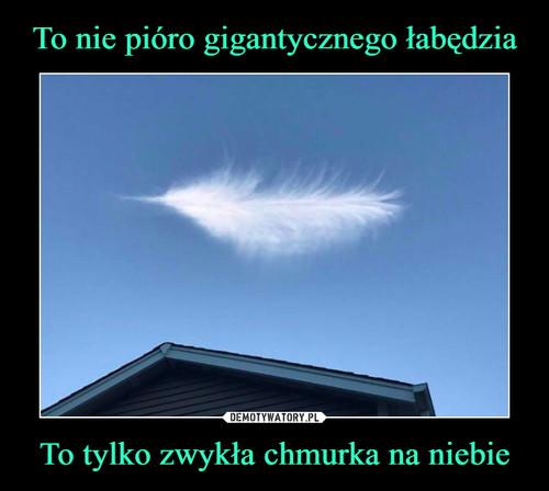 To nie pióro gigantycznego łabędzia To tylko zwykła chmurka na niebie