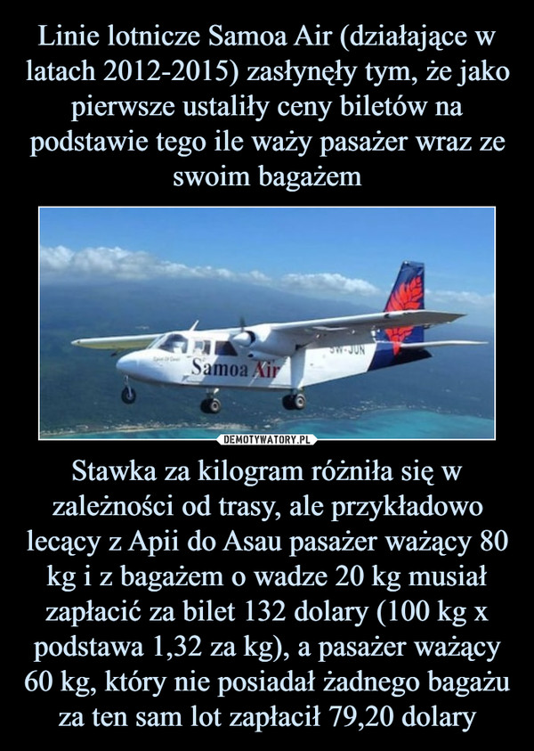 Stawka za kilogram różniła się w zależności od trasy, ale przykładowo lecący z Apii do Asau pasażer ważący 80 kg i z bagażem o wadze 20 kg musiał zapłacić za bilet 132 dolary (100 kg x podstawa 1,32 za kg), a pasażer ważący 60 kg, który nie posiadał żadnego bagażu za ten sam lot zapłacił 79,20 dolary –