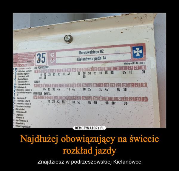 Najdłużej obowiązujący na świecie rozkład jazdy – Znajdziesz w podrzeszowskiej Kielanówce