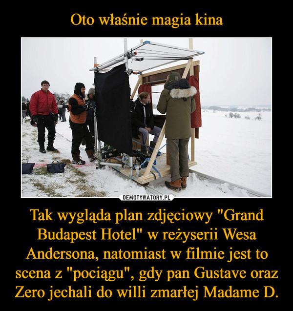 """Tak wygląda plan zdjęciowy """"Grand Budapest Hotel"""" w reżyserii Wesa Andersona, natomiast w filmie jest to scena z """"pociągu"""", gdy pan Gustave oraz Zero jechali do willi zmarłej Madame D. –"""