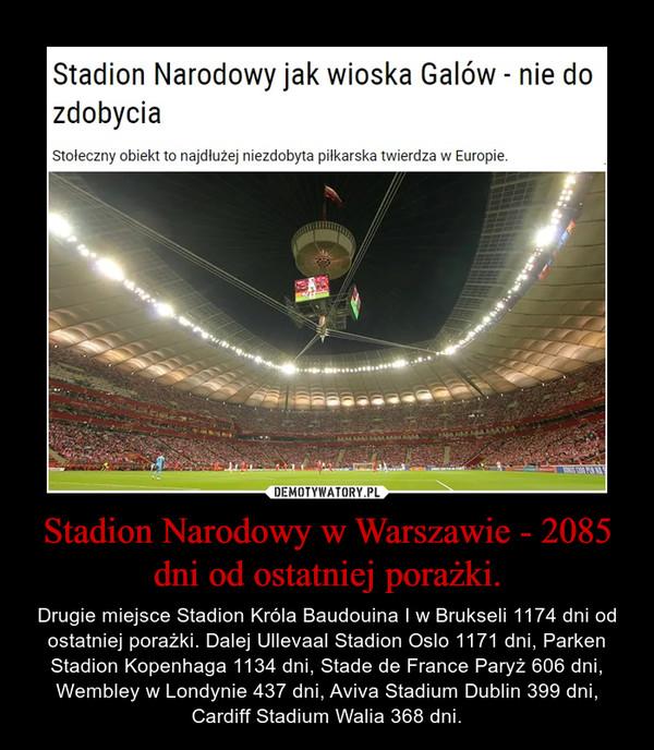Stadion Narodowy w Warszawie - 2085 dni od ostatniej porażki. – Drugie miejsce Stadion Króla Baudouina I w Brukseli 1174 dni od ostatniej porażki. Dalej Ullevaal Stadion Oslo 1171 dni, Parken Stadion Kopenhaga 1134 dni, Stade de France Paryż 606 dni, Wembley w Londynie 437 dni, Aviva Stadium Dublin 399 dni, Cardiff Stadium Walia 368 dni.