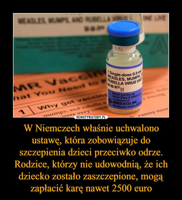 W Niemczech właśnie uchwalono ustawę, która zobowiązuje do szczepienia dzieci przeciwko odrze. Rodzice, którzy nie udowodnią, że ich dziecko zostało zaszczepione, mogą zapłacić karę nawet 2500 euro –