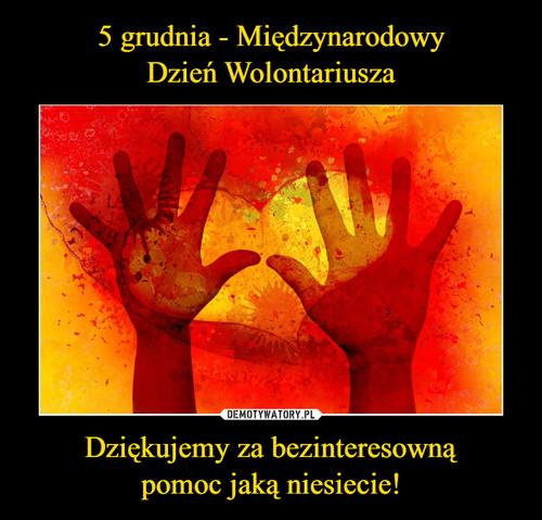5 grudnia - Międzynarodowy Dzień Wolontariusza Dziękujemy za bezinteresowną pomoc jaką niesiecie!